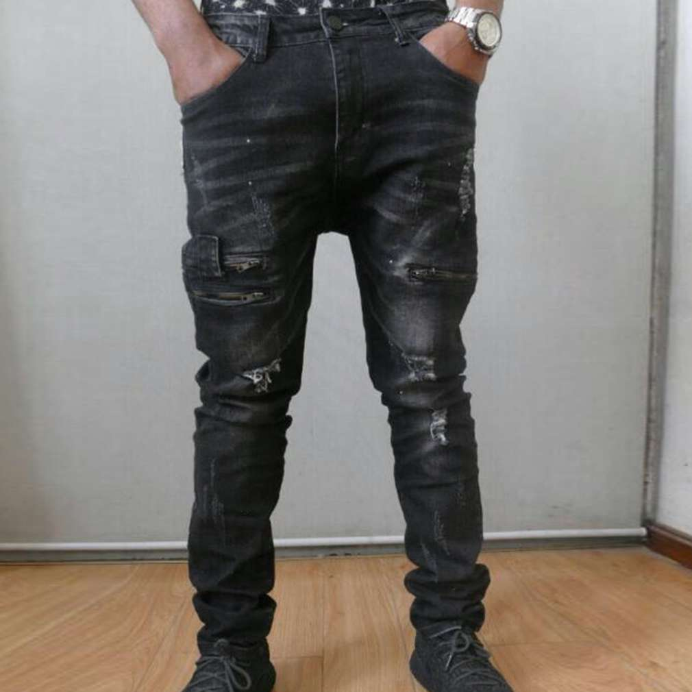 Man Ripped Biker Hole font b Jeans b font Cotton Black Slim Stretchy Straight Fit font