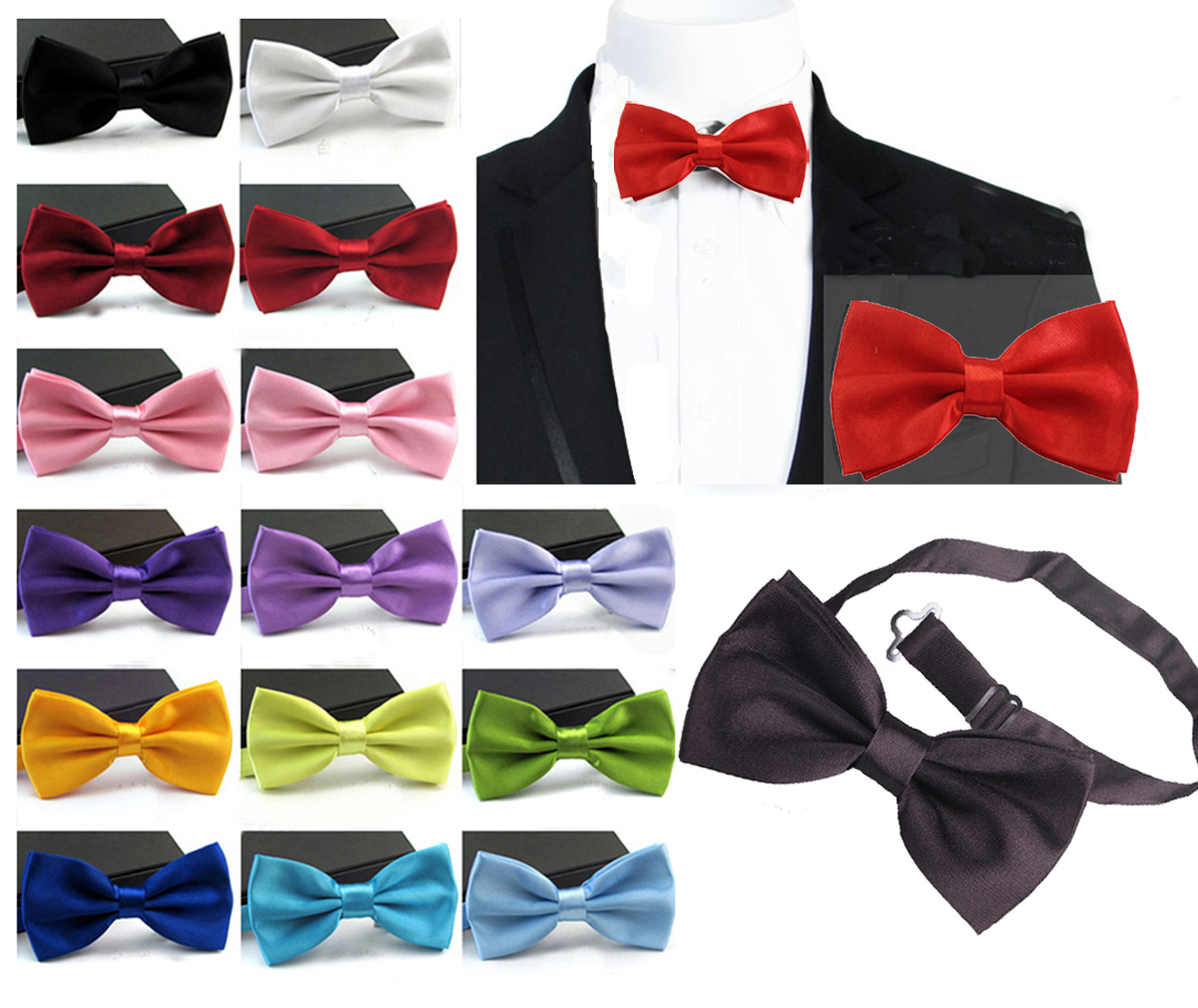 Gentleman Men Classic Satin Bowtie Necktie Pure Pocket Square  For Wedding Party Easy Style Black Red Pink(China)