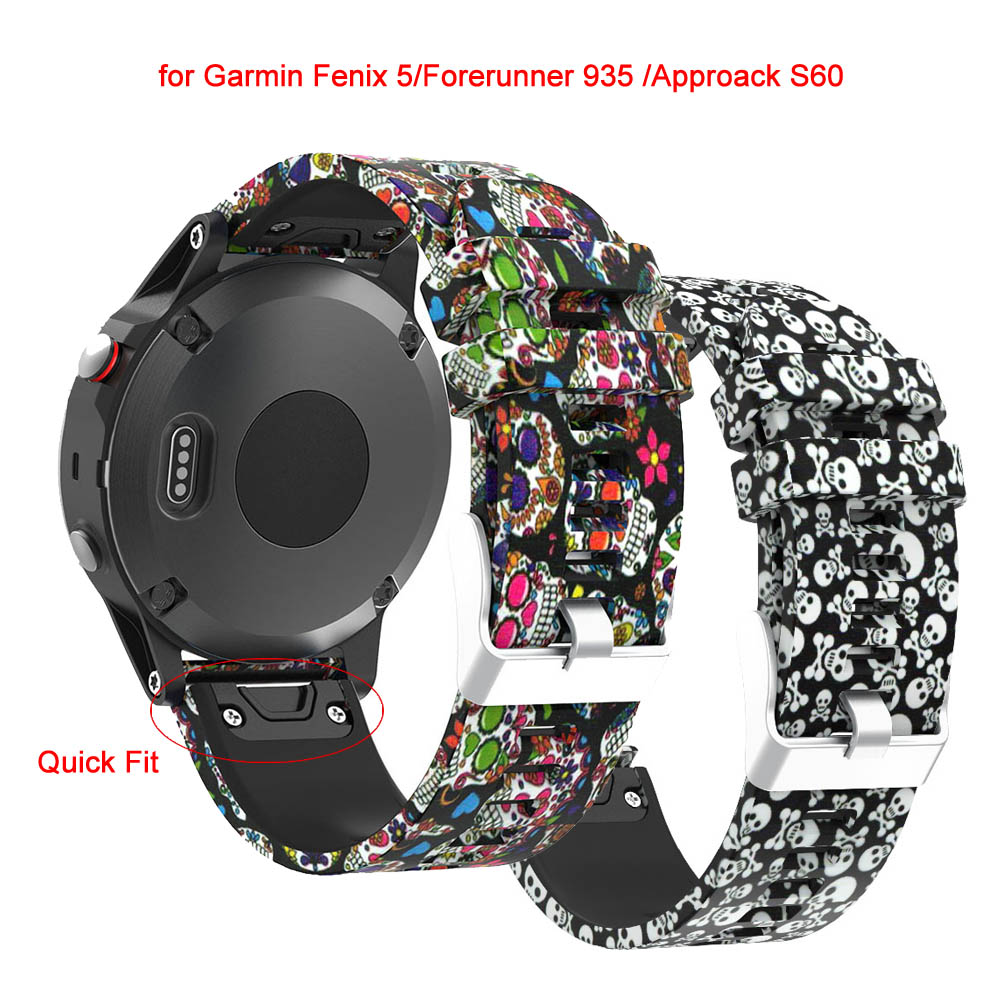Quick Fit 22mm Width Soft Silicone Skull Printed Band Strap for Garmin Fenix 5/Forerunner 935 /Approack S60