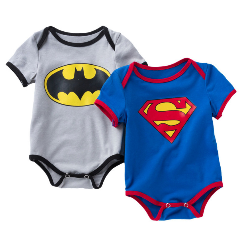 Newborn Baby Boy Clothes Ropa Bebe Cotton Short Sleeve Girl Jumpsuits Superman Batman Cute Children Bodysuits Kids Costume Gifts spring outfits for kids