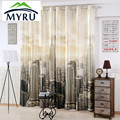1.4m*2.6m promotion 3D digital printing thick full blackout curtains finished living room bedroom New York curtains