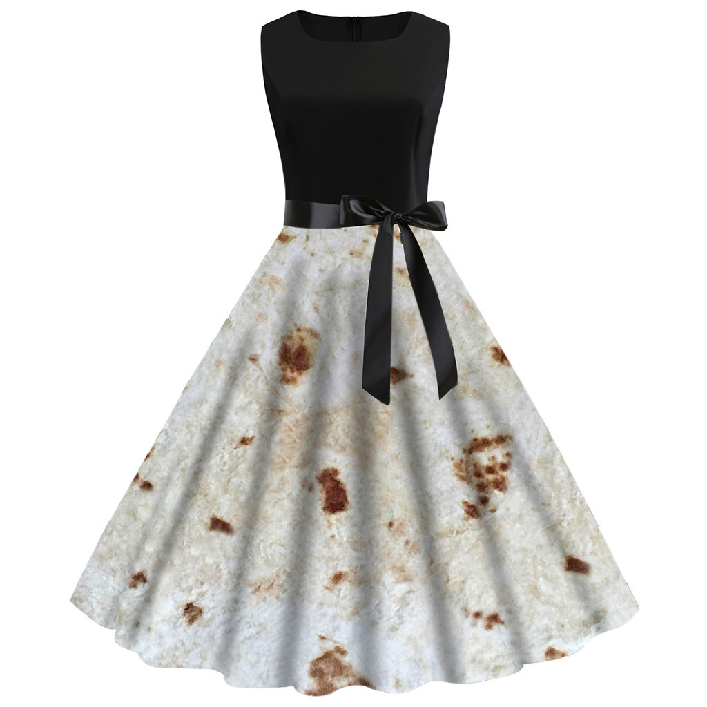 2019 New Women Dress Summer Women Vintage 1950s Sleeveless Burrito Tortilla Printing Party Prom Swing Dress L410A