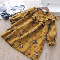 YY 2018 Autumn Kids Dresses For Girls Dress kids floral dress Toddler Princess Dress Full Sleeve Kids Clothes rapunzel d