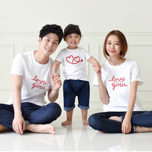 [new] 2015 Children Summer Cotton size of a family three daughter color T-shirt on behalf