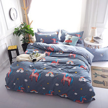 Unicorn Printed Home Textile For Teen Kid Bedding Set Bed Cover Bed Sheet Duvet Cover Pillowcase Bed Linen Bedclothes Queen(China)
