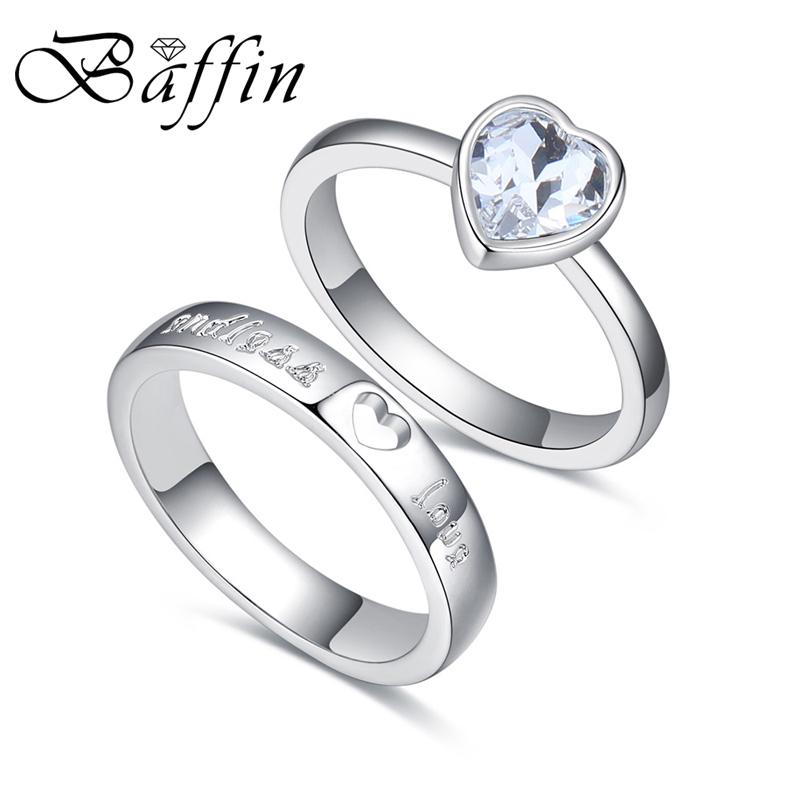 Online Shop Baffin Fashion Original Crystals From SWAROVSKI Silver Color Wedding  Rings Sets Romantic Anniversary Accessories For Women  86a946f9af92