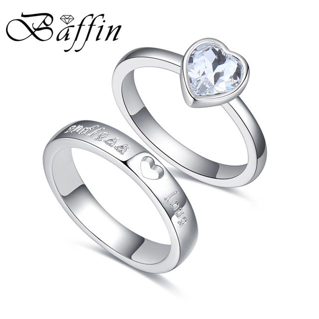 4fd76514f58fb Baffin Fashion Original Crystals From SWAROVSKI Silver Color Wedding Rings  Sets Romantic Anniversary Accessories For Women -in Wedding Bands from ...