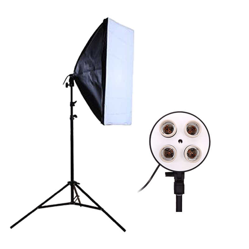 photography Studio Softbox Kit Video Four-capped Lamp Holder Lighting+ 50*70cm Softbox+2m Light Stand Photo Soft Box
