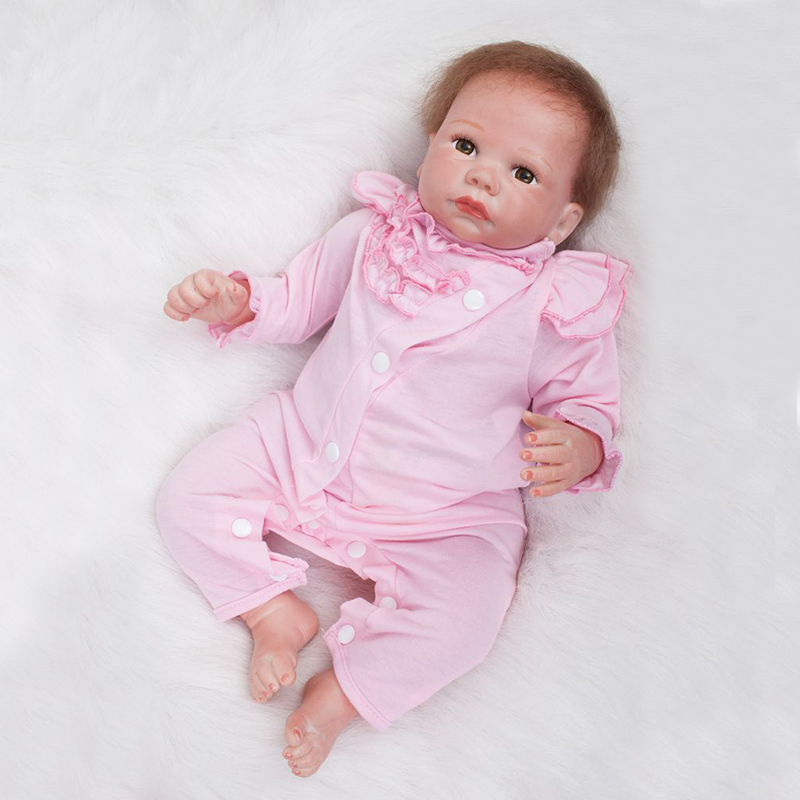 Nicery 20inch 50cm Bebe Doll Reborn Soft Silicone Boy Girl Toy Reborn Baby Doll Gift for Children Pink Jumpsuit Pink Hat цена