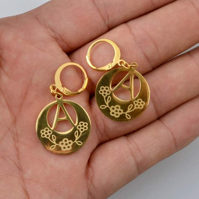 95a845228 placeholder Anniyo A-Z Gold Color Kiribati Initial Letter Earrings Women  English Alphabet Jewelry Gifts (More Letter