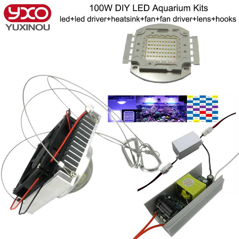 50w 100W Aquarium Light for Coral diy 100w Multichips Led Aquarium Led Chip ,best for marine,Fish Tank,for Coral,Reef Growing