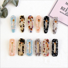 Korea Vintage Hot Popular Drop Square Colorful Leopar Hair Clips For Women Trendy Resin Acrylic Geometric Wholesale