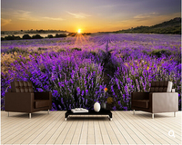 Custom Floral Wallpaper Sunset Over Lavender Field 3D Photo Murals For Modern Living Room Bedroom Backdrop