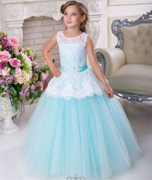 New Beautiful Lace White Blue Lace Flower Girl Dress Kids Birthday Gown First Communion Dress Vestidos de Primera Beaded Sash