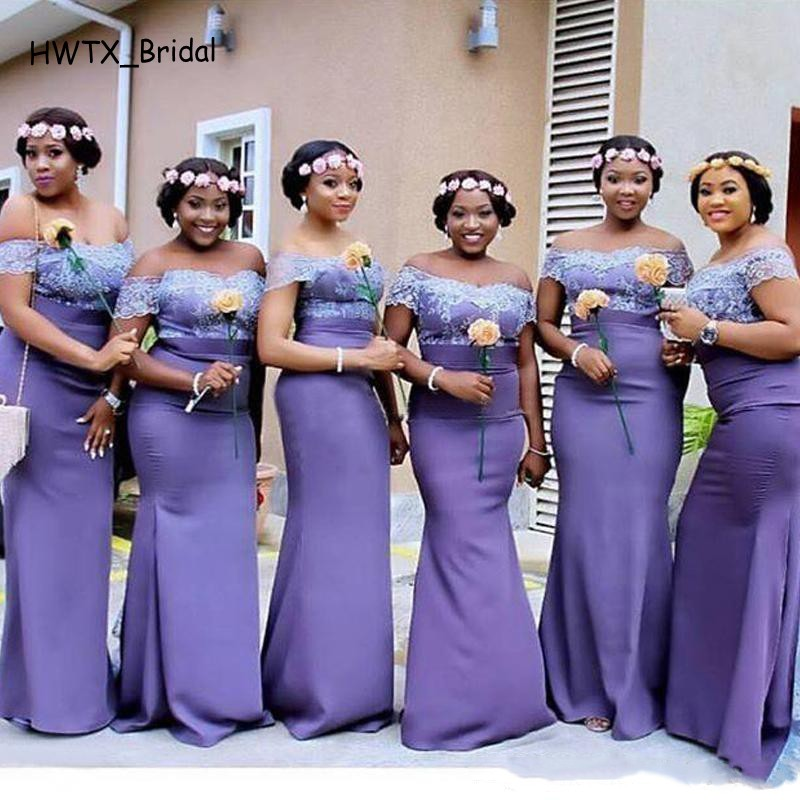2e16e2cca3 Light Purple Long Mermaid Bridesmaid Dresses Off Shoulder Lace Floor Length  Prom Party Gowns Custom Made Maid Of Bride Dress