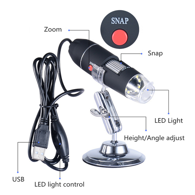 Usb digital mega pixels 1000x 1600x 8 led electronic endoscope microscope zoom camera magnifier