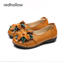 Women Genuine Leather Flat Shoes National Soft Loafers Vintage Mixed Color Spring Casual Shoes Women Flats Slip on Mother Shoes недорого