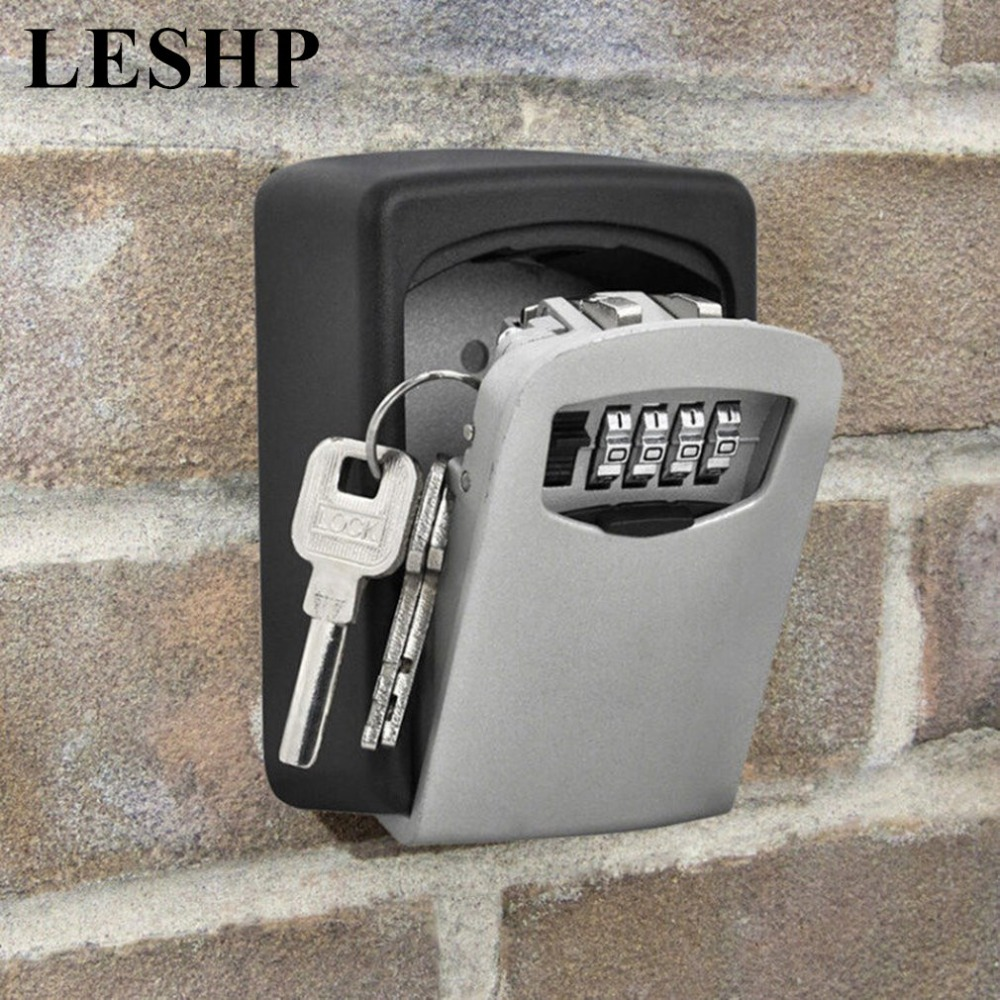 LESHP Wall Mount Key Storage Box with 4 Digit Combination Password Custom Padlock for Home Security Outdoor Indoor wall mount key storage lock key safe box 10 digit combination password