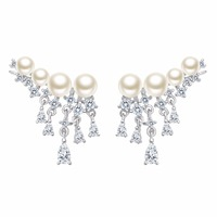 BELLA 925 Sterling Silver Four Ivory Natural Pearls Dangle Earrings Cubic Zircon Brial Earrings For Wedding