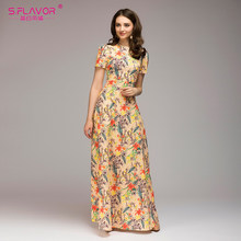 7abcbcd14d13 S.FLAVOR women flowers printing summer dress Casual short sleeve simple  autumn long dress for