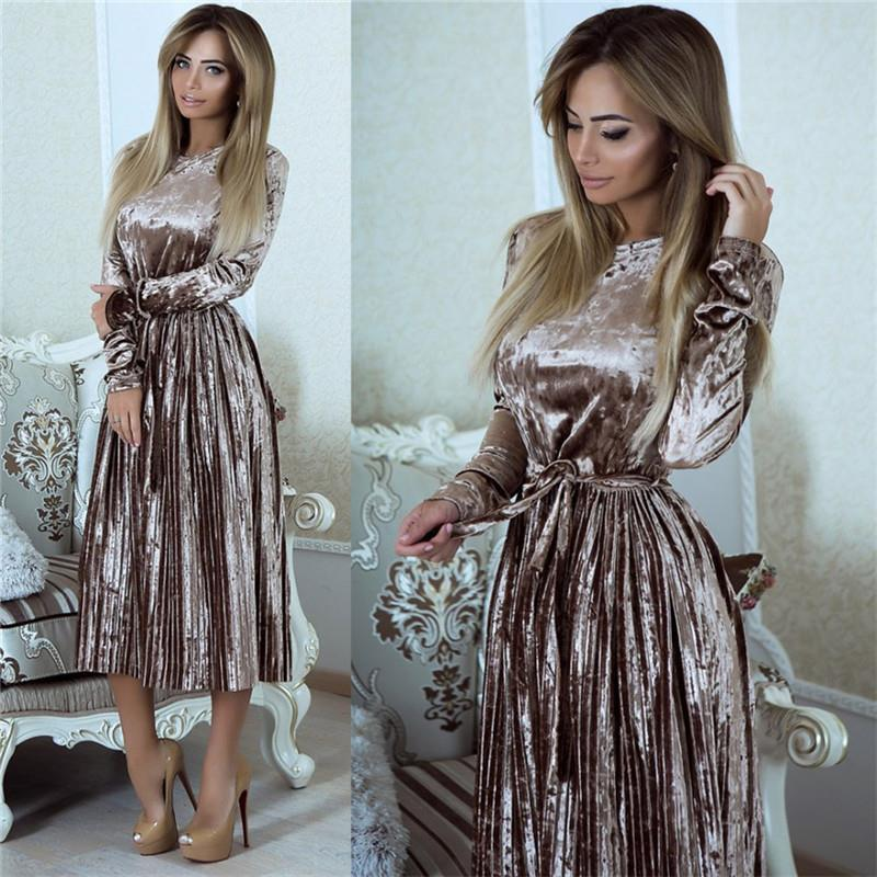 Susi&Rita Vintage Long Sleeve Velvet Dress Women 2019 Bodycon Belted Midi Dress Spring Pleated Party Dresses Vestidos Robe Femme Платье