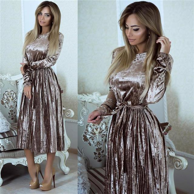 f6f7f62ac0e6 Susi&Rita Vintage Long Sleeve Velvet Dress Women 2018 Bodycon Belted Midi  Dress Spring Pleated Party Dresses Vestidos Robe Femme
