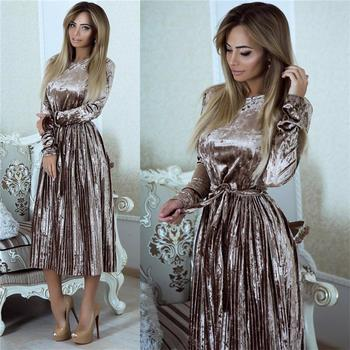 Susi&Rita Vintage Long Sleeve Velvet Dress Women 2019 Bodycon Belted Midi Dress Spring Pleated Party Dresses Vestidos Robe Femme susi