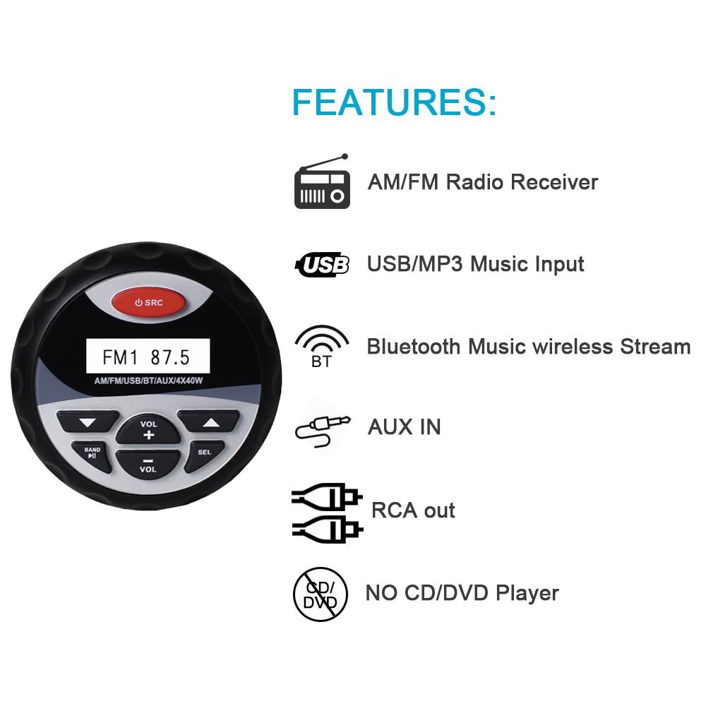防水マリンステレオ Bluetooth ゲージラジオ FM AM オーディオ + 4 インチ 2 ウェイマリンボート防水スピーカー屋外 ATV UTV スパ  グループ上の 自動車 &バイク からの 車用 MP3 プレーヤー の中 3