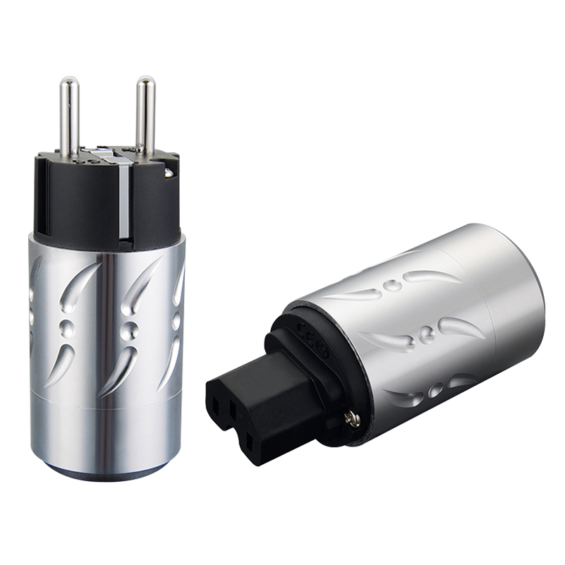 купить Viborg VE502S+VF502S Aluminium Pure Copper Silver Plated Audio Schuko Power Connector IEC Plug по цене 6344.81 рублей