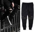2016 High quality  GOD Yeezu West Vintage  streets Hip hop Mens long Pants zipper Casual Jogger Dance Sportwear