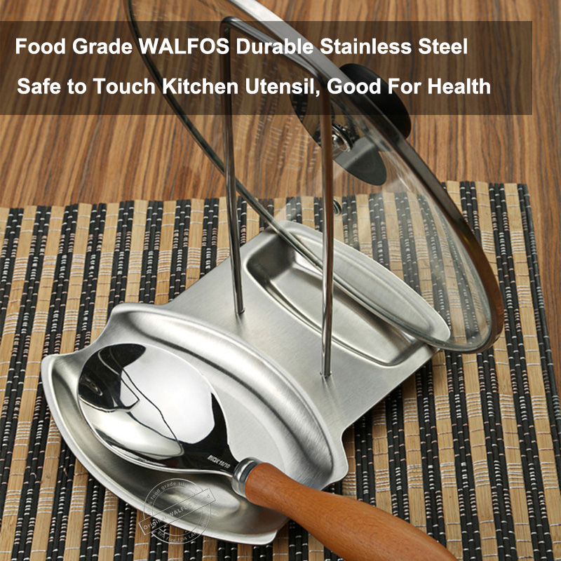 WALFOS real stainless steel Pot Lid Rack Spoon Rest Utensils Lid Holder Spoon Holder Lid Rest Lid Shelf Kitchen Utensils in Spoon Rests Pot Clips from Home Garden