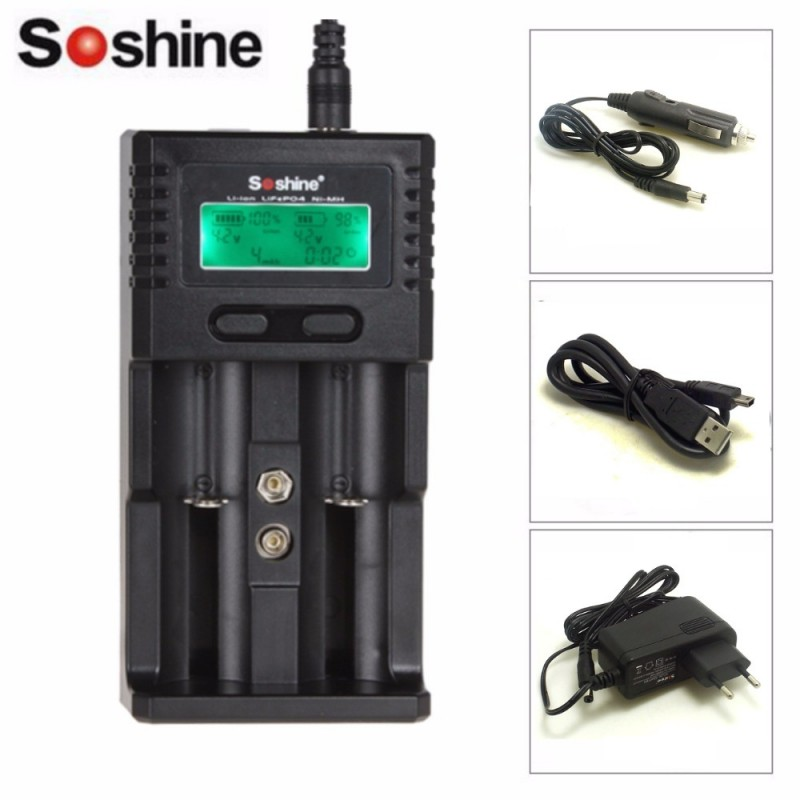 Soshine H2 SC-H2 Intelligent Charger LCD Universal Charger for Li-ion/LiFePO4 26650 1865 ...