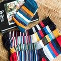 5 Unids/lote clásico Caliente de Moda Casual de Negocios Jóvenes Hombres calcetín calcetín de algodón colorido de la raya ocasional estándar MS0074