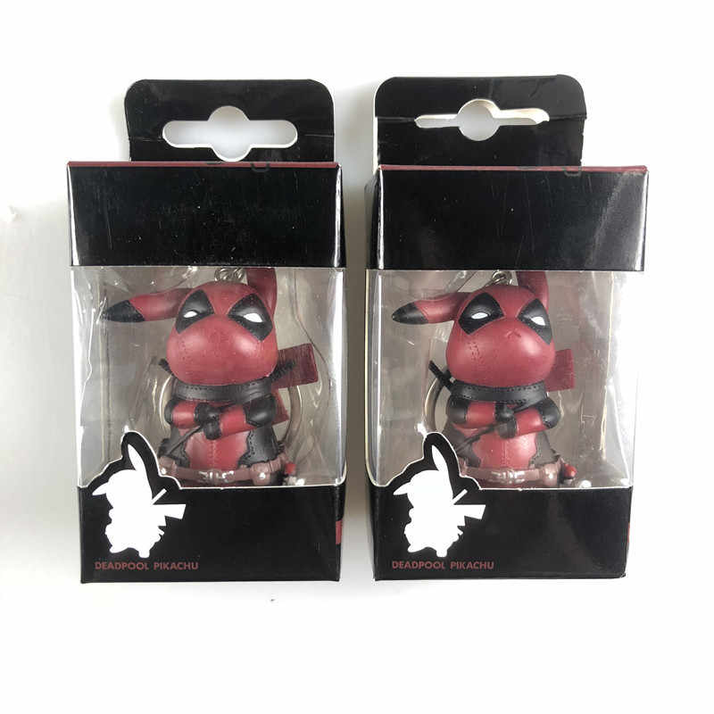 1 pcs Marvel X-man Deadpool Funny Cute Kawaii Pikachu Cosplay Deadpool Collection Model Keychain Toys with Retail Box