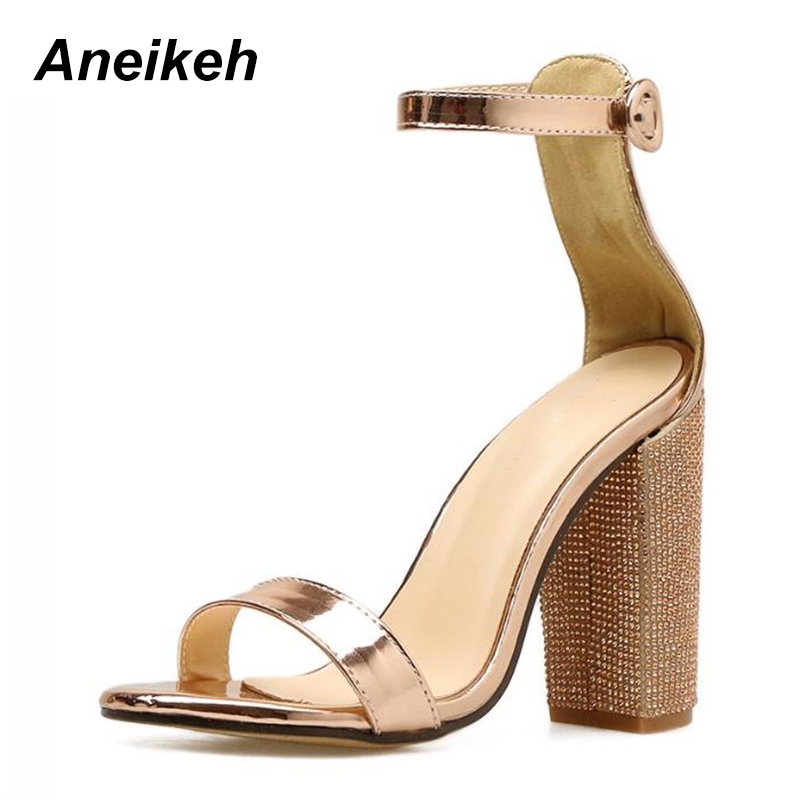 Detail Feedback Questions about Aneikeh Women Platform Sandals Summer  Crystal Heel Block Square Heels Ladies Gold High Heels Party Wedding Shoes  Woman Pumps ... 5151aa7ee76d