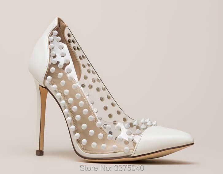 Talons Mode Femmes Pompes Or Femme De À jaune Rivets Chaussures Stylet Blanc Patchwork Hauts Sexy Transparent Pvc nHYqwdSwv