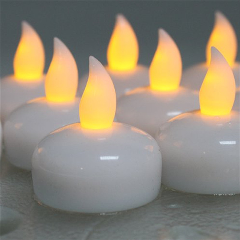 12piece Amber Yellow Glow Floating Led Candle Light Cool White Waterproof Tea Plastic Bright Flameless In Candles From Home Garden On