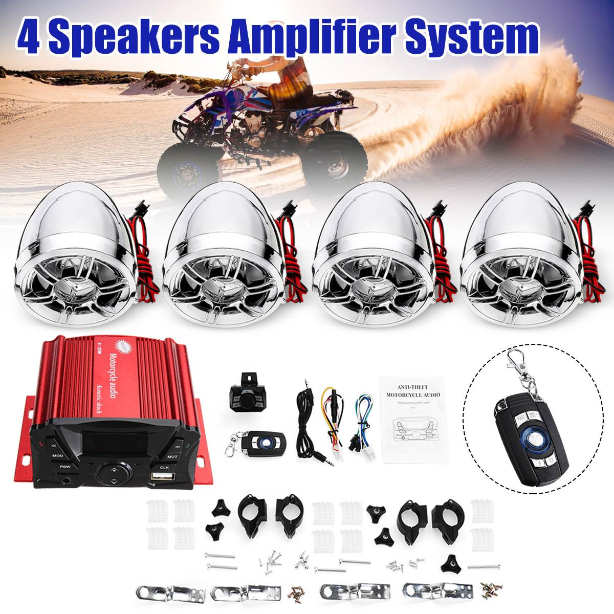 4 Speaker Motorcycle Amplifier System Mini Motorcycle Audio Speaker With Wireless Remote Control LED Display USB Port
