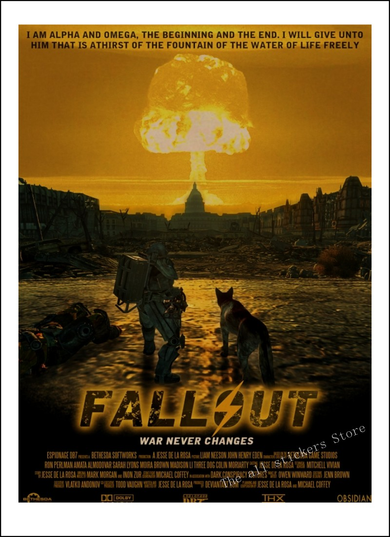 Fallout 4 - DLC Nuka world Fallout 3 4 Game Poster Home Furnishing  decoration Kraft Game Poster Drawing core Wall stickers/9005
