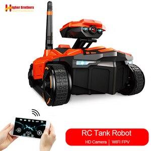 Image 1 - Télécommande moniteur intelligent réservoir Robot HD Wifi FPV 0.3MP Voiture Telecommandee caméra RC téléphone App contrôle Voiture contrôlée enfants