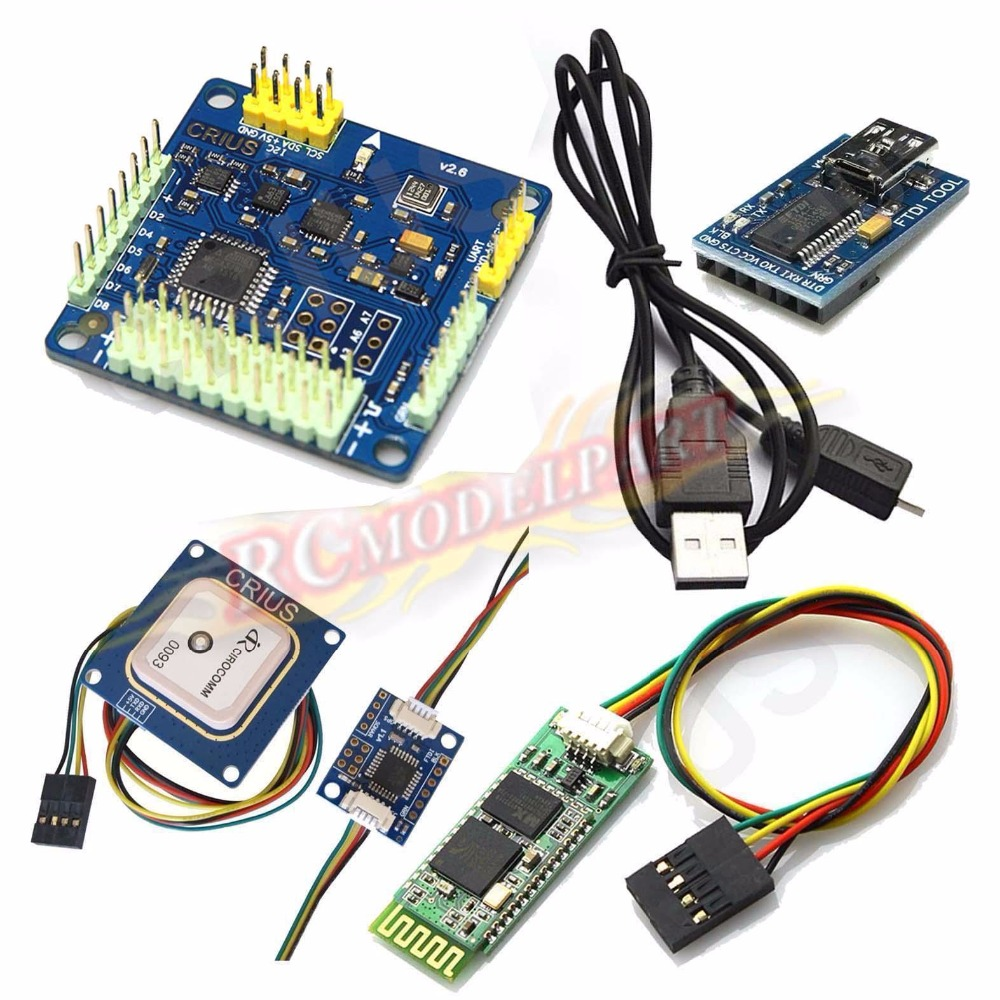 MWC MultiWii SE V2.6 Flight Controller & GPS Bluetooth Module Combo for 3D Fly crius mwc multiwii se flight controller bluetooth module parameter debug adapter
