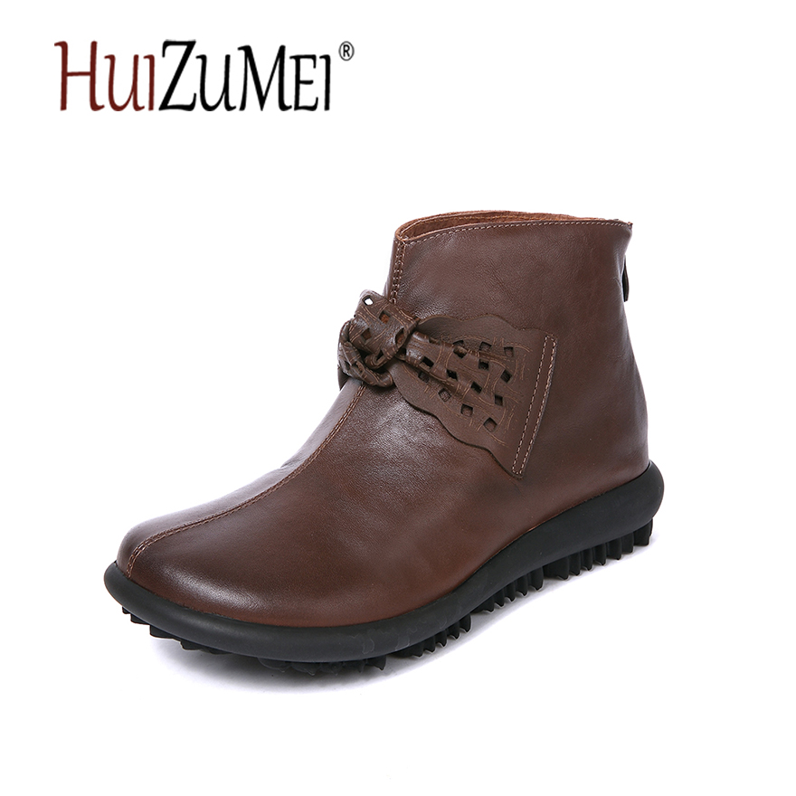 HUIZUMEI autumn and winter new genuine leather flat boots women retro handmade round toe casual ankle boots autumn and winter new ladies genuine