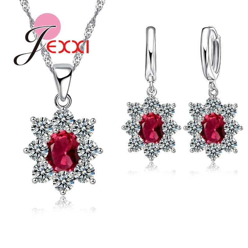 Charm 925 Sterling Silver Jewelry Set Joyas Gift AAA Cubic Zircon Oval Stone Crystal For Women Pendant Necklace Earrings Set SW
