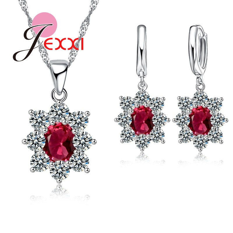 Charm 925 Sterling Silver Jewelry Set Joyas Gift AAA Cubic Zircon Oval Stone Crystal Pendant Necklace Earrings Set SW