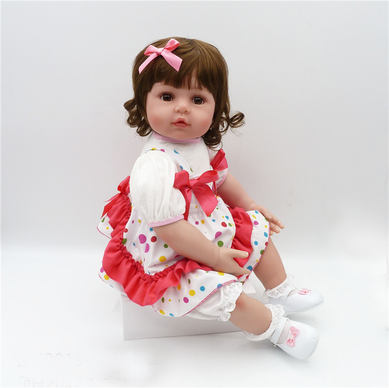 "22"" Lovely princess girl doll reborn soft touch cloth body silicone vinyl reborn baby dolls children new year gift bonecas"