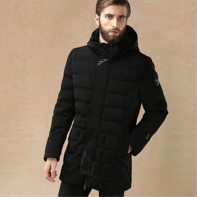 Invierno Masculina Calidad Chaqueta de Alta gama de la Marca de Negocios Hombre Con Capucha Down Jacket