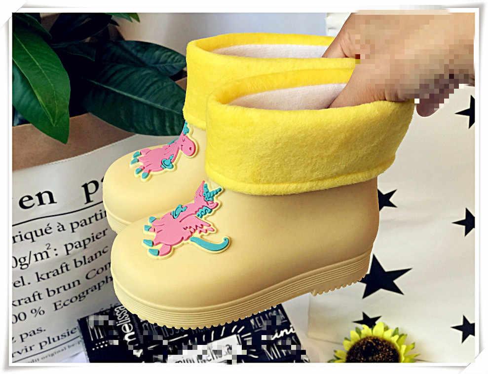 Niños Otoño e Invierno Botas de lluvia niños moda unicornio caramelo zapatos impermeables niños niñas bebé Botas de lluvia invierno grueso SH19072