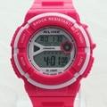 ALIKE 50M Water Resistant Lady Boy Multifunction LED Light Digital Sports Wristwatch Swimming Back To School Gift K32PINK