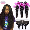 Ear To Ear Lace Frontal Closure With Bundles Loose Wave Peruvian Virgin Hair With 13x4 Closure Peruvian Loose Wave With Frontal