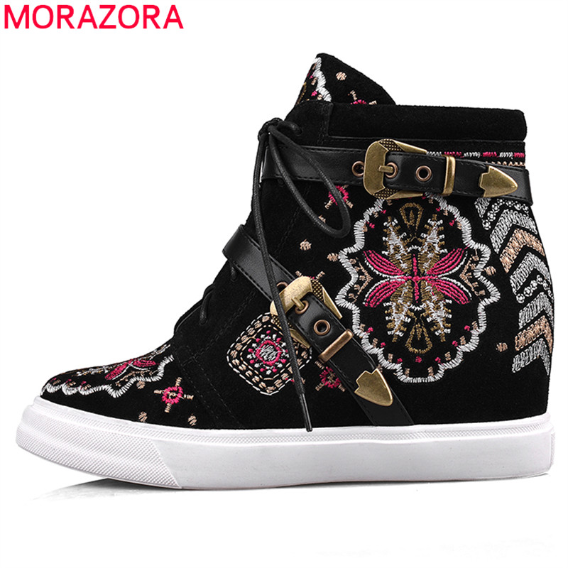 Здесь продается  MORAZORA New autumn cow suede women boots round toe lace-up buckle Vintage embroidery height increasing ankle boots  Обувь